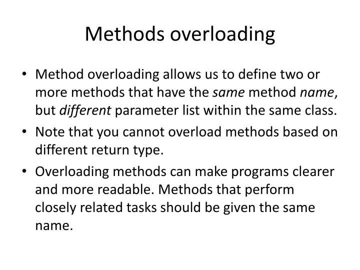 Methods overloading