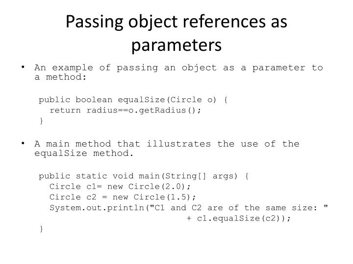 Passing object references as parameters