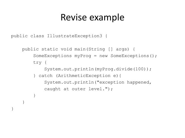 Revise example