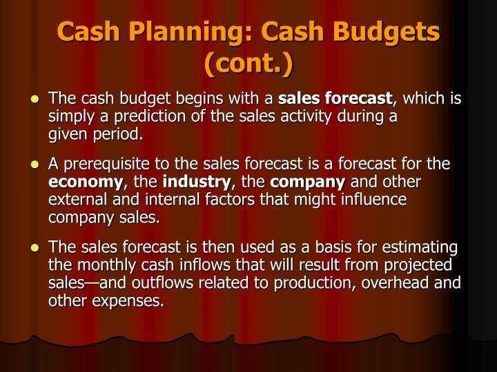 Cash Planning: Cash Budgets (cont.)