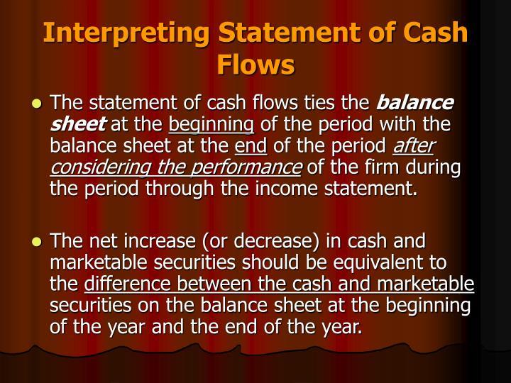 Interpreting Statement of Cash Flows