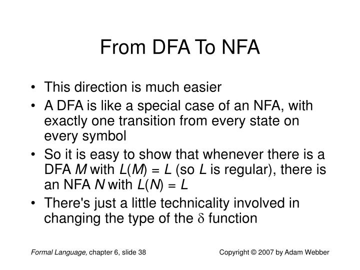 From DFA To NFA