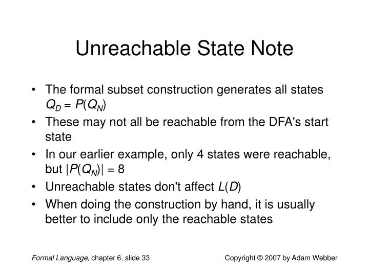 Unreachable State Note