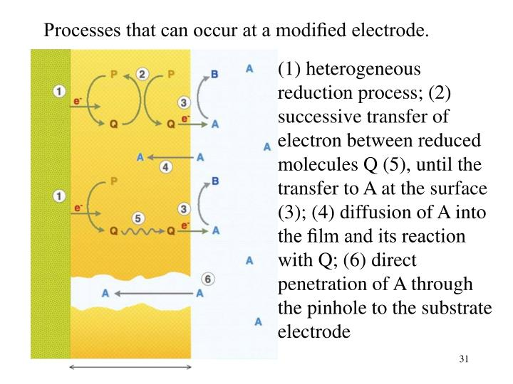 Processes that can occur at a modified electrode.