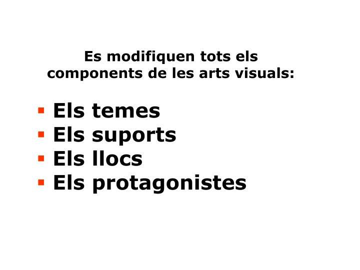 Es modifiquen tots els components de les arts visuals: