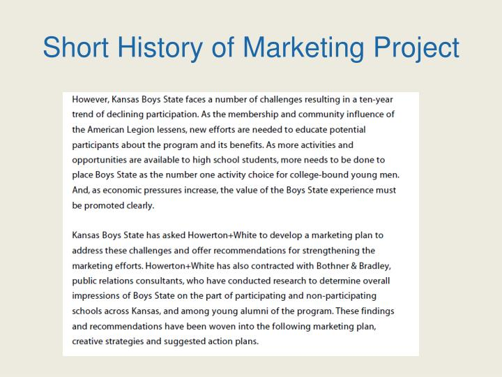 Short History of Marketing Project