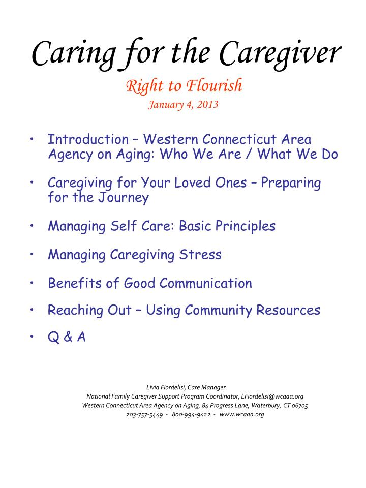 Caring for the caregiver right to flourish january 4 2013