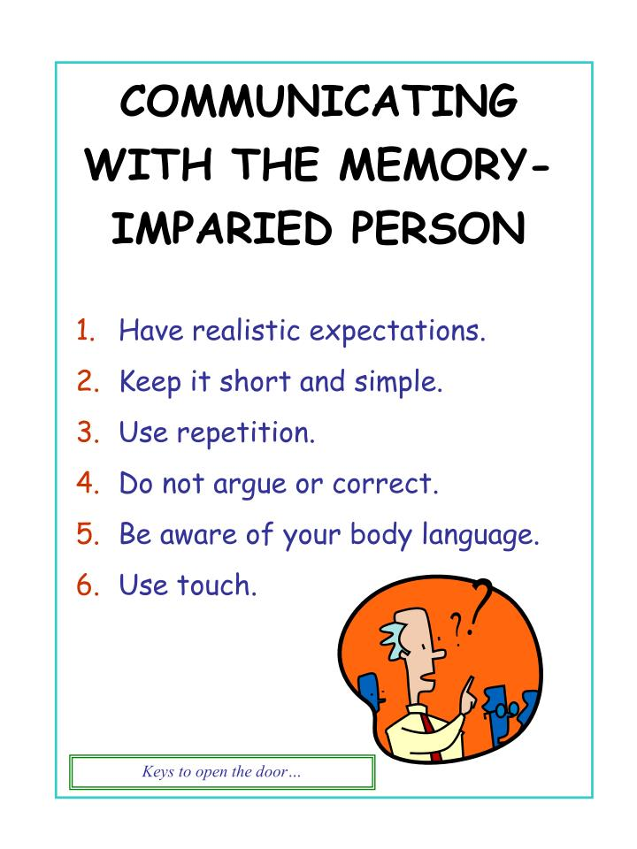 COMMUNICATING WITH THE MEMORY-IMPARIED PERSON