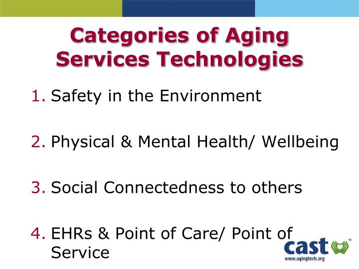 Categories of Aging Services Technologies