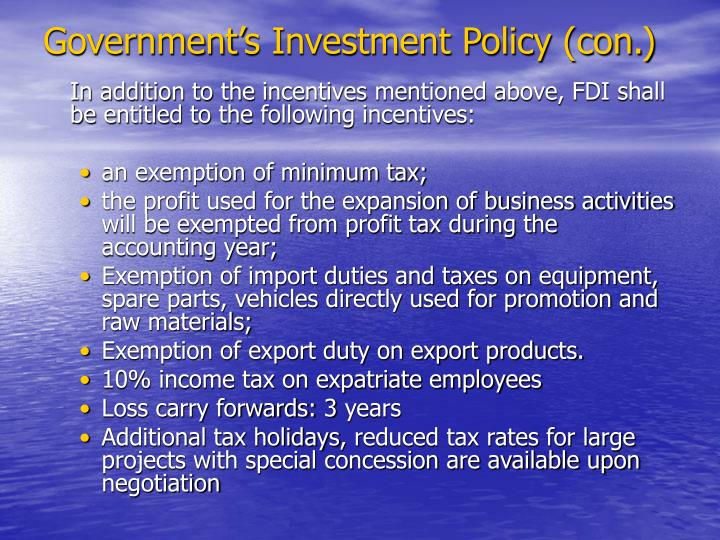 Government's Investment Policy (con.)