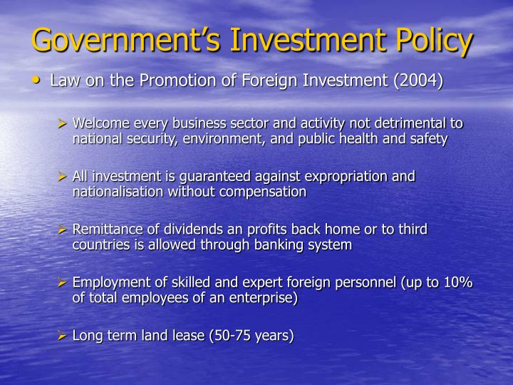 Government's Investment Policy