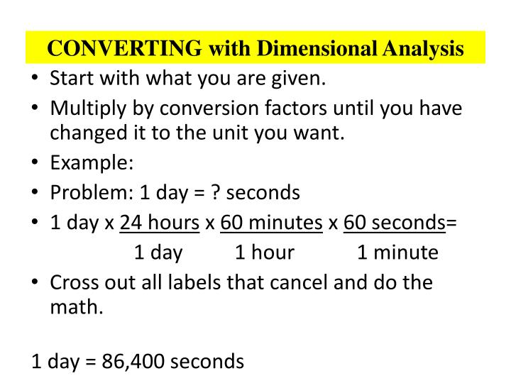 CONVERTING with Dimensional Analysis