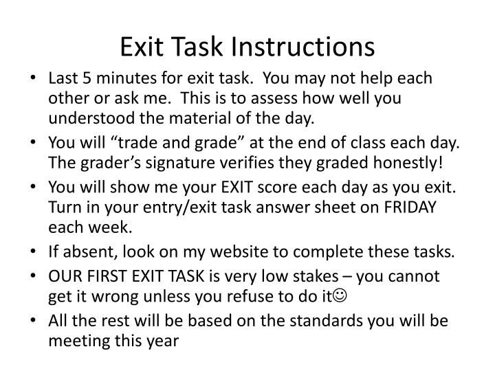 Exit Task Instructions