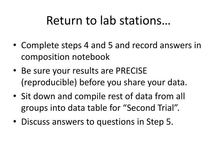 Return to lab stations…