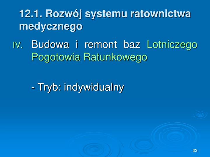 12.1. Rozwój systemu ratownictwa medycznego