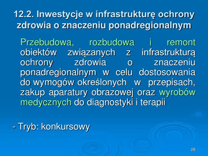 12.2. Inwestycje w infrastrukturę ochrony zdrowia o znaczeniu ponadregionalnym