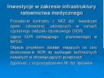 inwestycje w zakresie infrastruktury ratownictwa medycznego1
