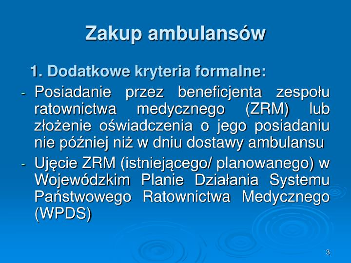Zakup ambulans w
