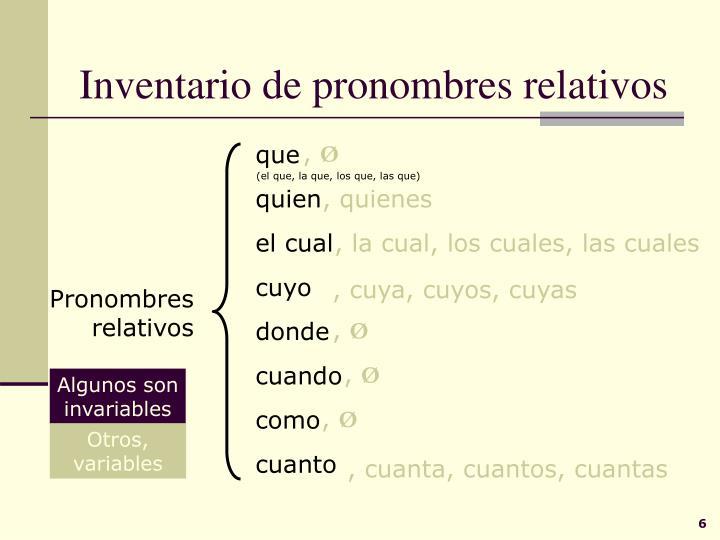 Inventario de pronombres relativos