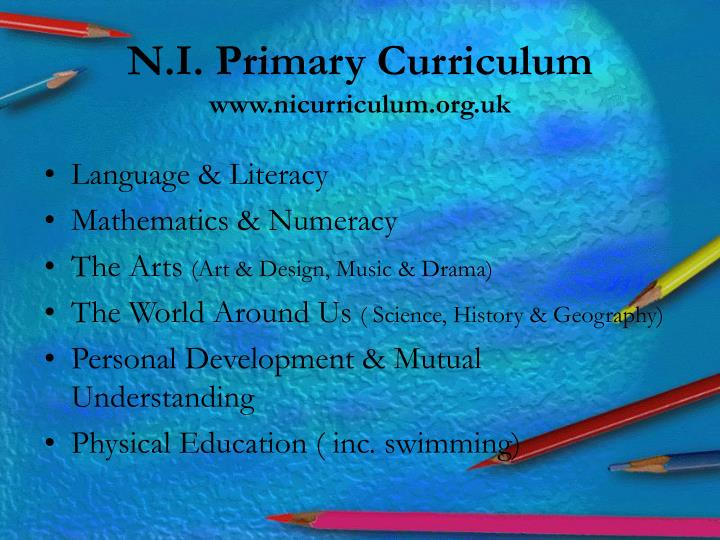N i primary curriculum www nicurriculum org uk