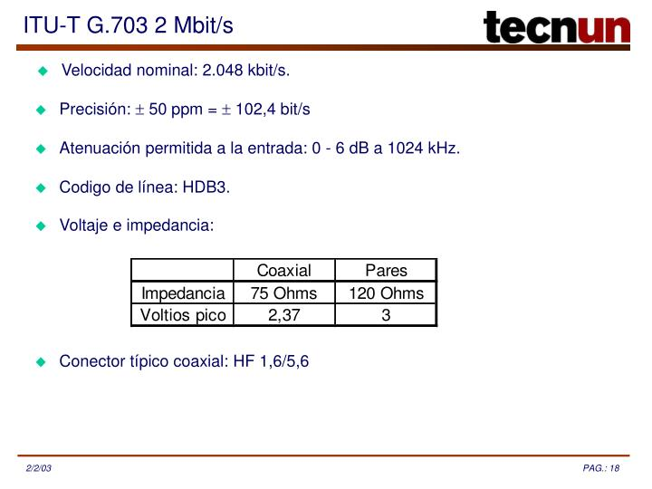 ITU-T G.703 2 Mbit/s