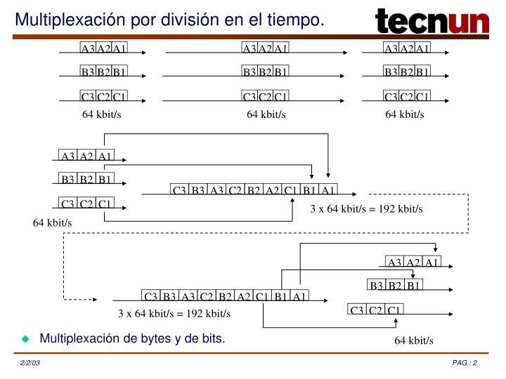 Multiplexación de bytes y de bits.