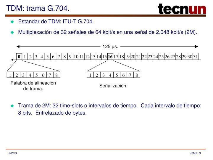 Estandar de TDM: ITU-T G.704.