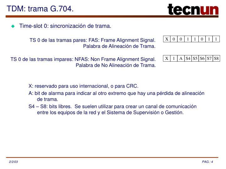 TDM: trama G.704.