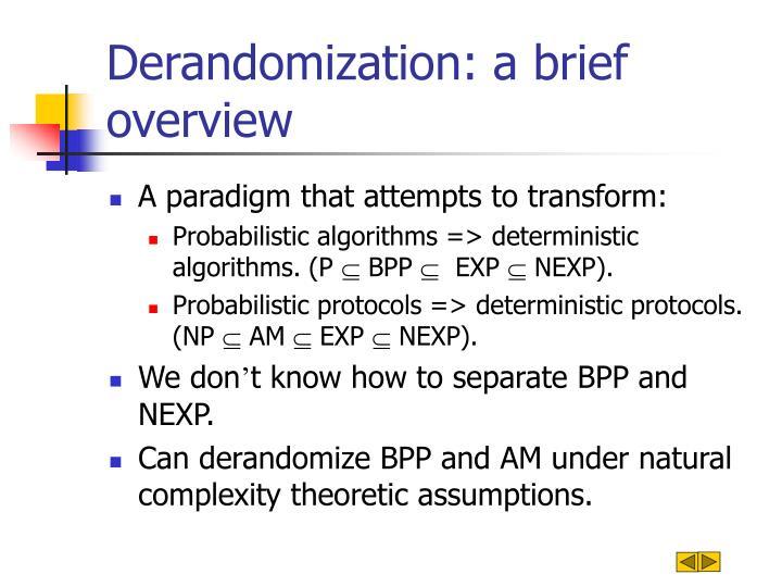 Derandomization: a brief overview