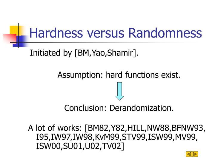 Hardness versus Randomness