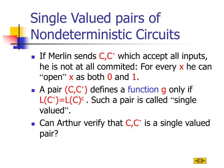 Single Valued pairs of Nondeterministic Circuits