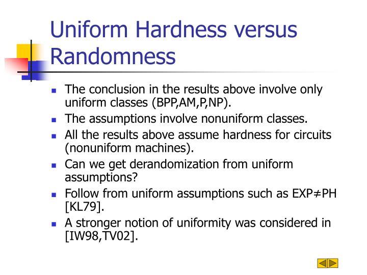 Uniform Hardness versus Randomness