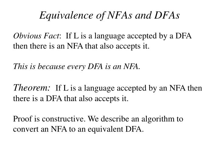 Equivalence of NFAs and DFAs