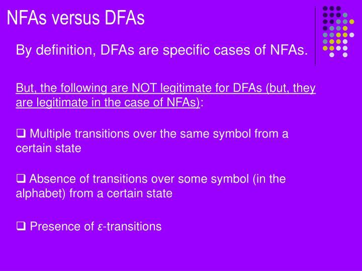 NFAs versus DFAs