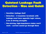 quietest leakage fault detection mao and gulati