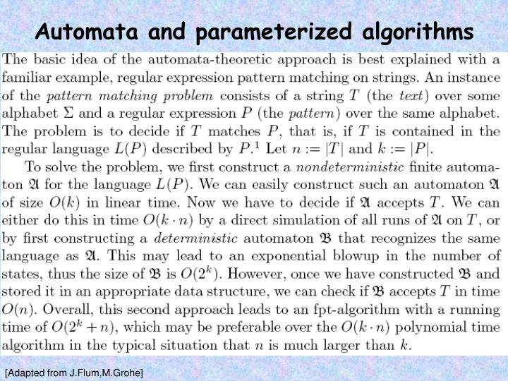 Automata and parameterized algorithms