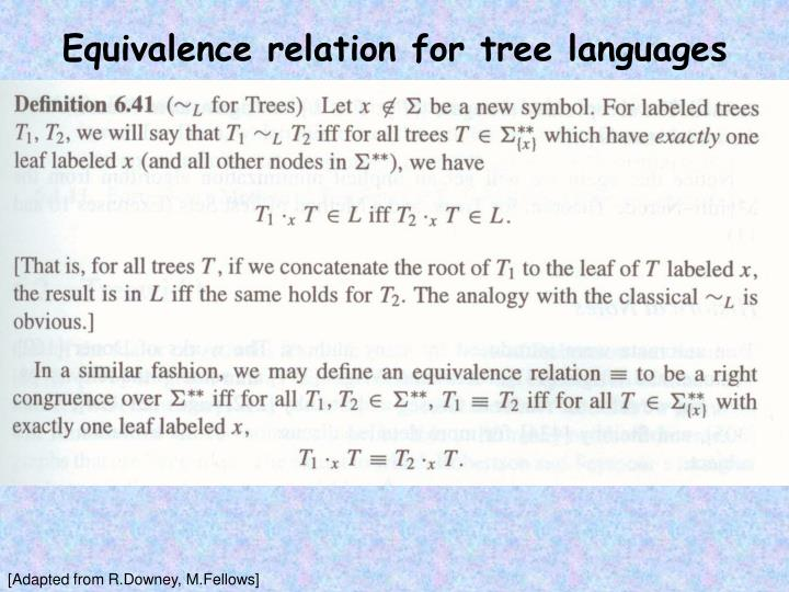 Equivalence relation for tree languages