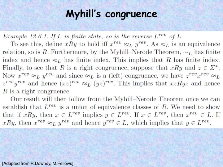 Myhill's congruence