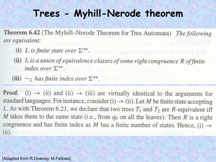 Trees - Myhill-Nerode theorem