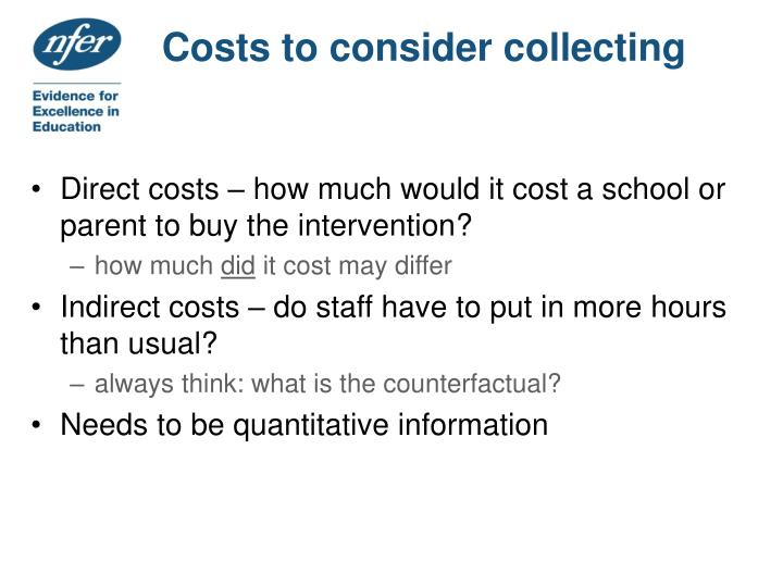 Costs to consider collecting