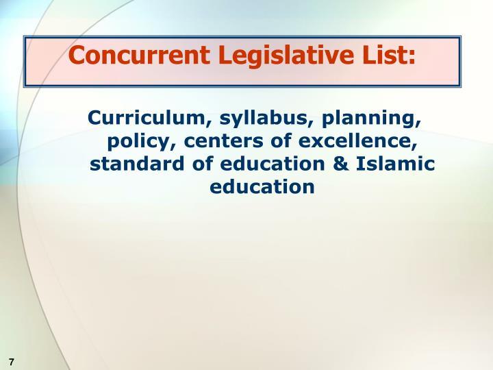 Concurrent Legislative List: