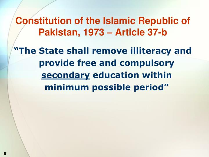 Constitution of the Islamic Republic of Pakistan, 1973 – Article 37-b