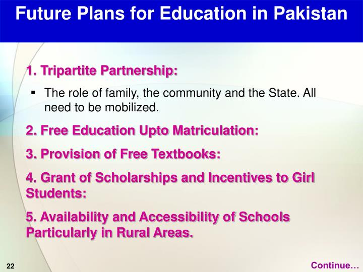 Future Plans for Education in Pakistan