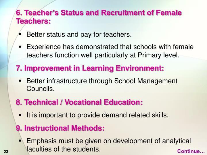 6. Teacher's Status and Recruitment of Female Teachers: