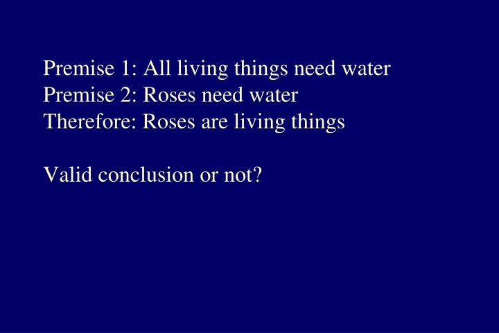 Premise 1: All living things need water
