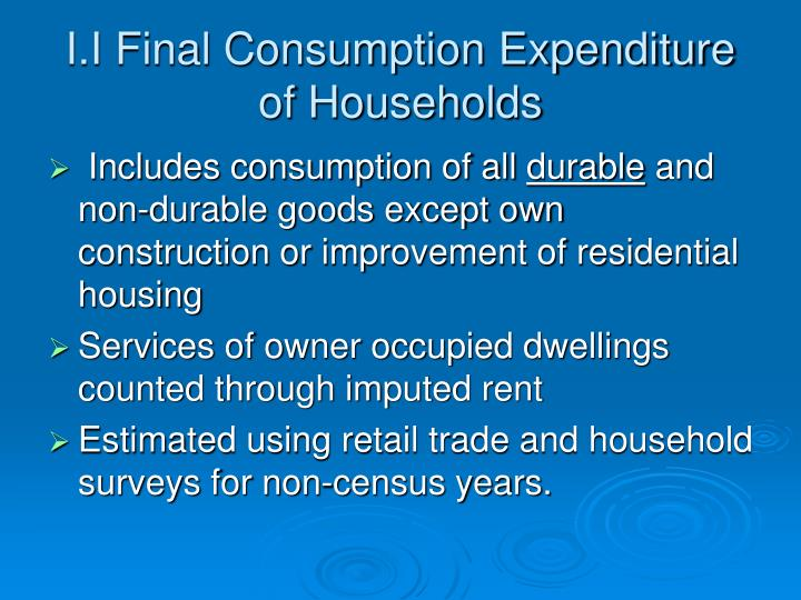 I.I Final Consumption Expenditure of Households