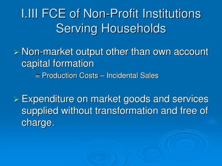 I.III FCE of Non-Profit Institutions Serving Households