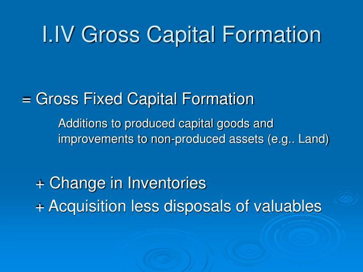 I.IV Gross Capital Formation