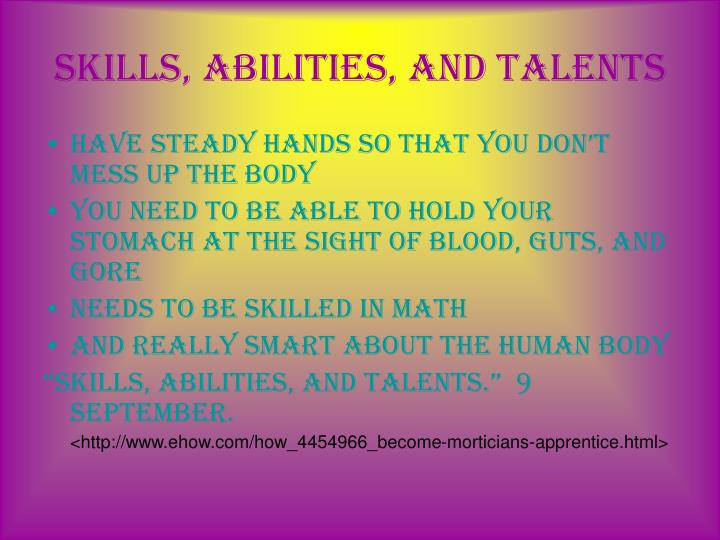 Skills abilities and talents