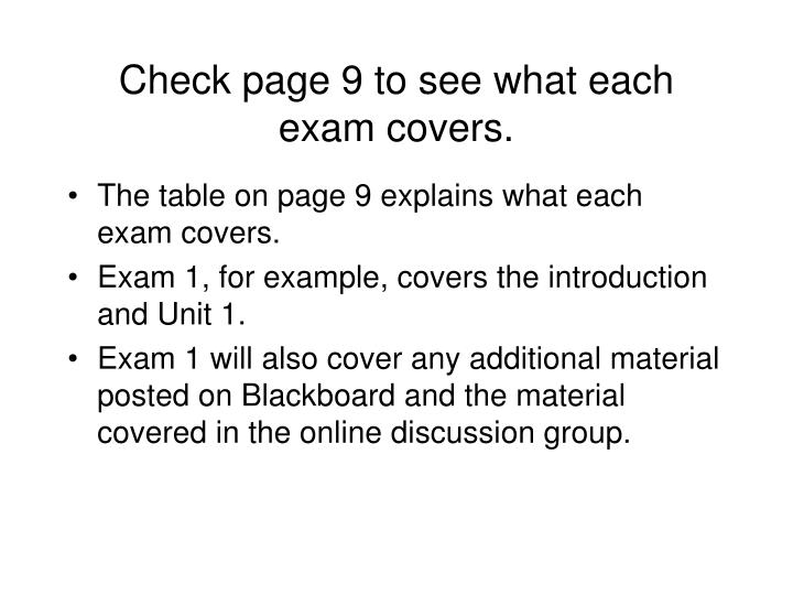 Check page 9 to see what each exam covers.